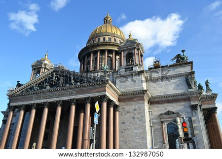 View of St. Isaac's Cathedral in St.Petersburg, Russia.