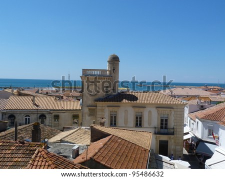 View of St. Maries de la Mer from the roof of the church of Notre Dame de la Mer I - stock photo