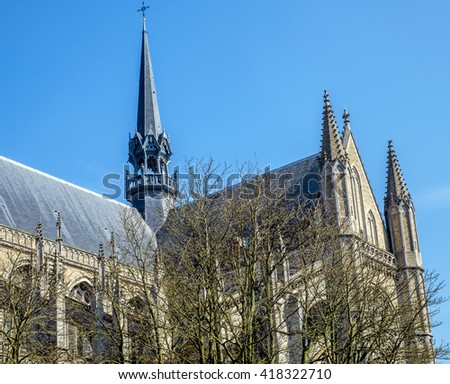View of St. Martin's Cathedral in Ypres (Ieper), Belgium, which was reconstructed following the destruction of World War I - stock photo