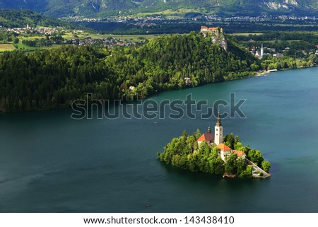 View of St. Mary�´s Church of the Assumptionon, Bled Lake, Slovenia
