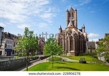 View of St Nicholas' Church in Ghent,  Belgium - stock photo