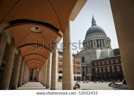 View of St Paul?s Cathedral from Paternoster Square on a beautiful day - stock photo