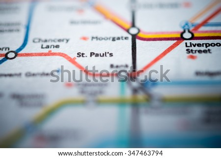 View of St. Paul's station on a London underground map. (vignette) - stock photo