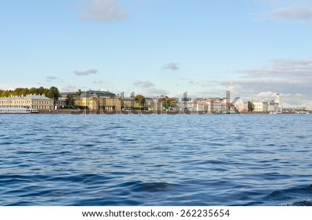 View of St. Petersburg and Neva river in the evening - stock photo