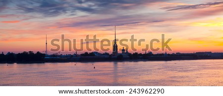 View of St. Petersburg. Peter and Paul Fortress in summer dawn - stock photo