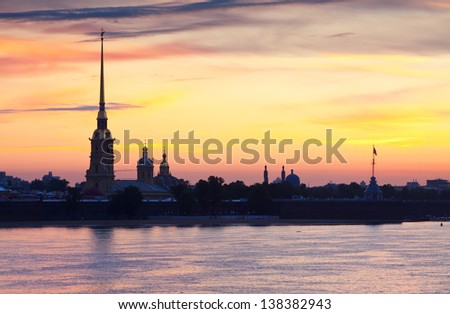 View of St. Petersburg. Peter and Paul Fortress in summer morning