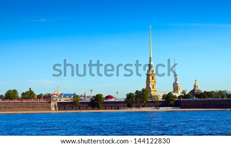 View of St. Petersburg. Peter and Paul Fortress in sunny day