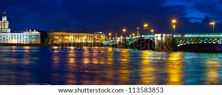 View of St. Petersburg. Vasilyevsky Island and Palace bridge in night