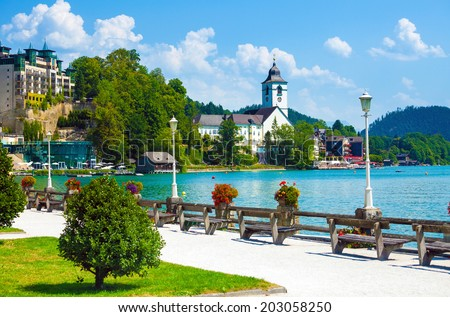 View of St. Wolfgang waterfront with Wolfgangsee lake, Austria - stock photo