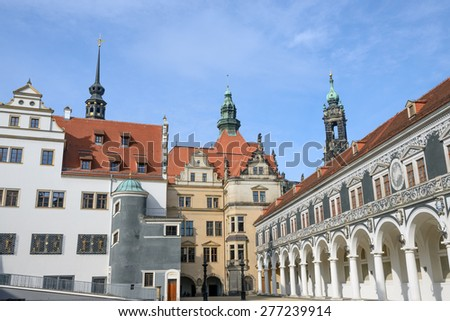View of Stables Courtyard (Stallhof) toward Chancellery Building and George Gate of Dresden Castle, Saxony, Germany. - stock photo