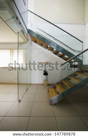 View of stairways in modern house - stock photo