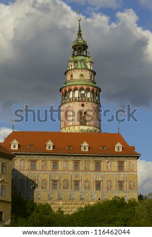 View of state castle Cesky Krumlov in South Bohemia (Czech Republic). UNESCO heritage. - stock photo