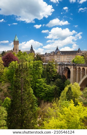 View of State Saving Bank Building in Luxembourg - stock photo