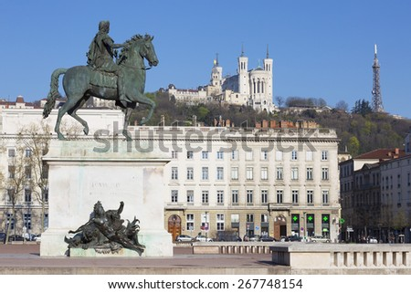 View of Statue and Basilica on a background, Lyon, France. - stock photo