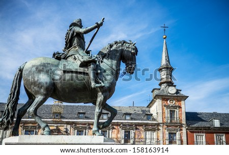 View of Statue of King Philips III, Plaza Mayor, Madrid, Spain - stock photo