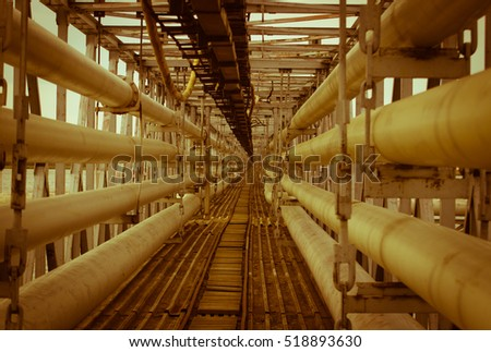 View of steel pipes for water drainage from the power station.