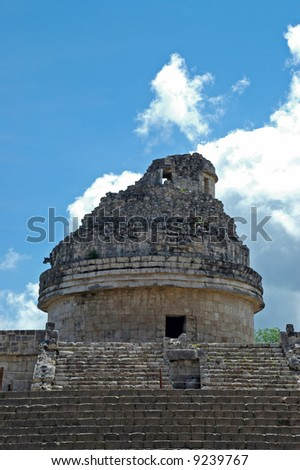 View of Steps and Tower of Ancient Mayan Observatory