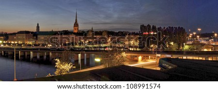 View of Stockholm by night, Sweden - stock photo