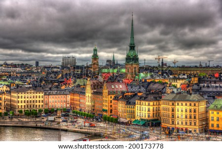 View of Stockholm city center - Sweden - stock photo