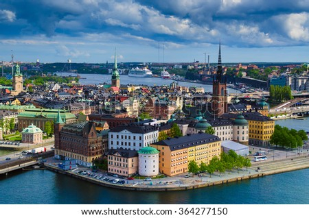View of  Stockholm from the City Hall  tower, travel Sweden architecture background