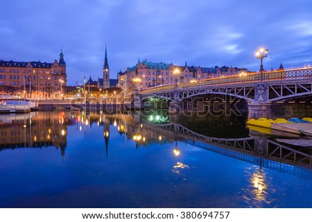 View of Stockholm, Sweden at dawn. Djurgard's bridge on the right