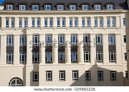View of stone facade in city Luxembourg /  Luxembourg, summer - stock photo