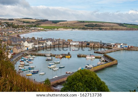 View of Stonehaven harbour in Scotland. - stock photo
