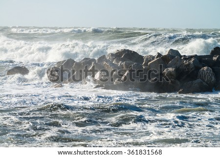 View of storm seascape. - stock photo