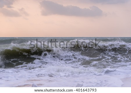 View of storm seascape at sunrise