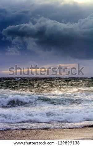 View of storm seascape in the Almeria coast, Spain - stock photo