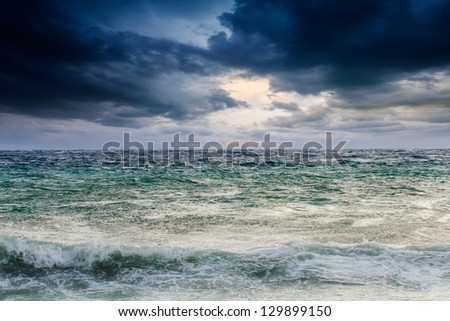 View of storm seascape in the Almeria coast, Spain
