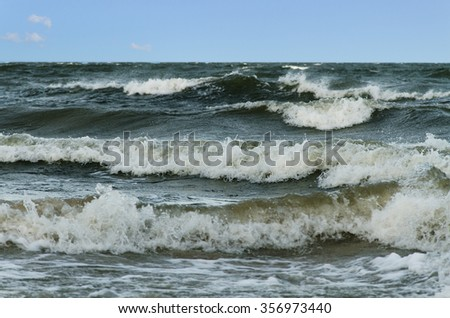 View of stormy seascape of Baltic sea. - stock photo