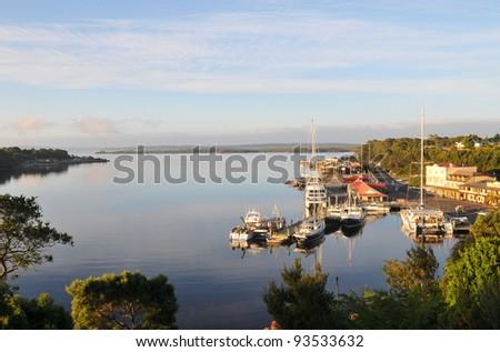 View of Strahan Village in Tasmania - stock photo