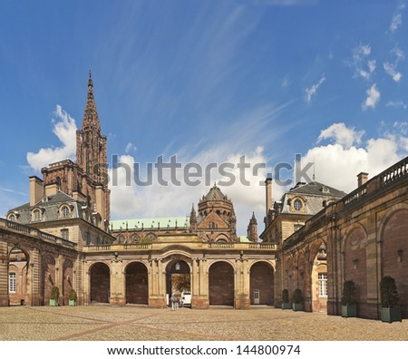 View of Strasbourg cathedral form Rohan Palace - stock photo