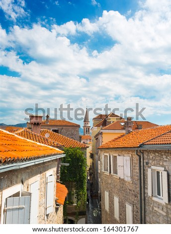 View of street in old town Budva, Montenegro