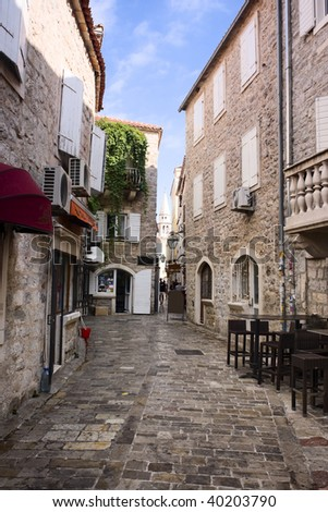 view of street in old town (Budva, Montenegro) - stock photo