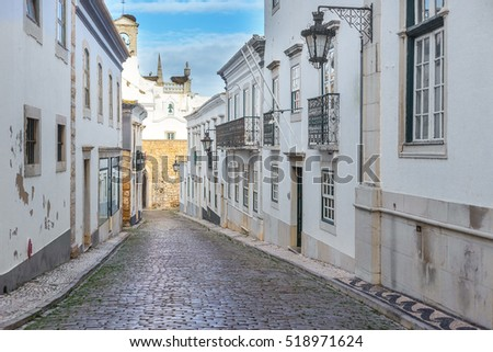 View of street in the old town Faro.