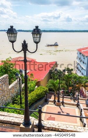 View of streetlights and the Guayas River in Guayaquil, Ecuador - stock photo