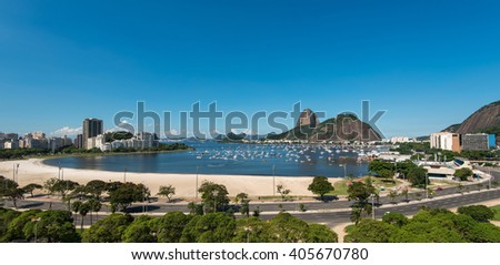View of Sugarloaf Mountain from Botafogo Shopping Mall in Rio de Janeiro, Brazil - stock photo