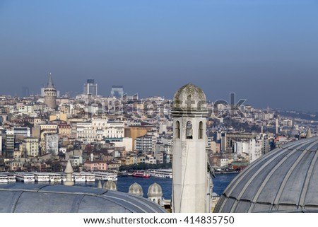 View of Suleymaniye Mosque built by the legendary Ottoman Sultan Suleiman the Magnificent overlooking the Golden Horn - stock photo