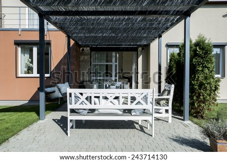 View of summer house in the garden - stock photo