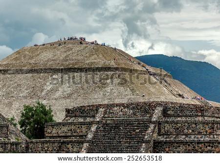 View of Sun Pyramids in Teotihuacan - Mexico, Latin America - stock photo