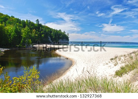 View of Superior Lake from the Castle Beach, Michigan, USA - stock photo