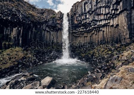 View of Svartifoss, Black Waterfall, Iceland - stock photo