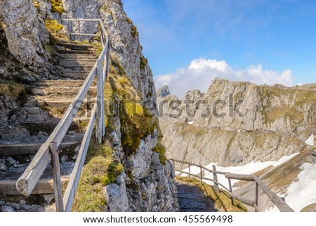 View of Swiss Alps from Mt. Pilatus trail and Lucerne lake (Vierwaldstattersee) in Lucerne, Switzerland - stock photo