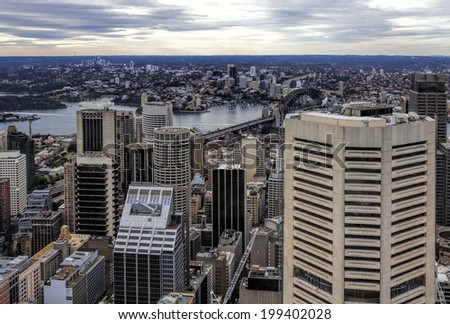View of Sydney from the Sydney Tower Eye - stock photo