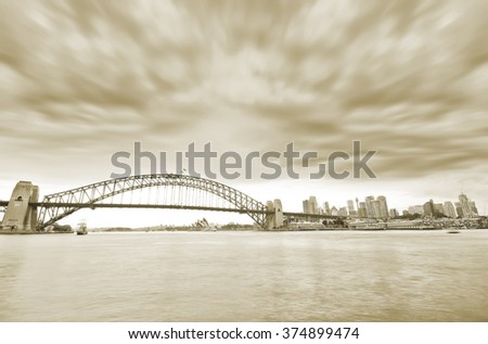 View of Sydney Harbor in a cloudy day - stock photo
