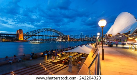 View of Sydney Harbour Bridge from Circular Quay. - stock photo
