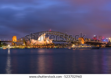 View of  Sydney Opera House And Harbour Bridge Sydney Australia from Mrs macqurie's Chair.NOV 28,2016. Sydney Opera House is modern building, well known worldwide.