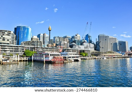 View of Sydney skyline and Darling Harbour in a sunny day  - stock photo